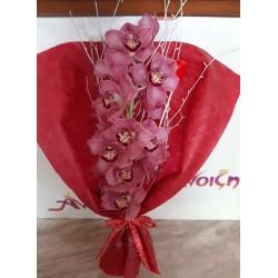 Ανθοδέσμη με ορχιδέες. Λουλούδια για βαλεντίνο.  Ανθοπωλεία Δράμα