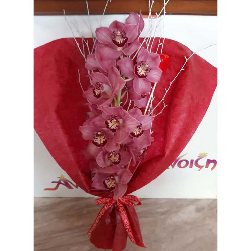 Orchid bouquet ideal for valentine's day. Send flowers in Drama city